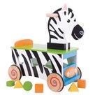 Speelgoedbox-Houten-Loop-en-Sorteerwagen-Zebra-BB028- Bigjigs Toys