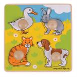 Houten puzzel met huisdieren met grote houten knop 4-delig