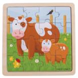 Houten koeien puzzel 16-delig