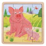 Houten puzzel met varkens 16-delig