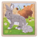 Houten konijnen puzzel 16-delig