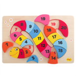 Houten slangen puzzel met nummers 21-delig