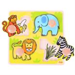Houten puzzel safari met groet houten knop 4-delig