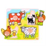 Houten puzzel boerderij met grote houten knop 4-delig