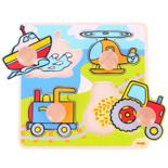 Houten puzzel met transport voertuigen met grote houten knop 4-delig