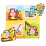 Houten puzzel bouwwagens met grote houten knop 4-delig