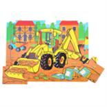 Houten puzzel graafmachine 9-delig
