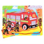 Houten puzzel brandweerwagen 9-delig