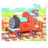 Houten puzzel trein rood 9-delig