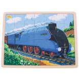 Houten puzzel trein blauw 35-delig