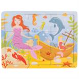 Houten puzzel met zeemeermin 9-delig