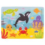 Houten puzzel met zeedieren 9-delig