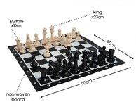 Houten schaakspel extra groot