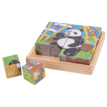 Houten blokken puzzel wilde dieren