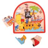 Houten puzzel met piraten 26-delig
