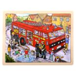 Houten puzzel met brandweerauto 24-delig