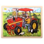 Houten puzzel met tractor 24-delig