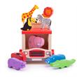 Houten sorteerwagen met safari dieren 10-delig