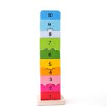 Houten blokken toren met getallen