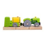 Houten tractor met sproeiwagon