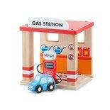Houten benzine station met auto