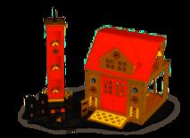 Houten brandweerkazerne met brandtoren