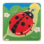 Houten levensloop puzzel lieveheersbeestje 7-delig