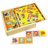 Houten domino spel met dieren figuren