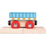 Houten blauwe wagon