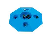 Knikkerpot blauw met knikkers diameter 22 cm