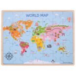 Houten puzzel met afbeelding van de wereld 35-delig