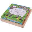 Houten blokken puzzel boerderijdieren