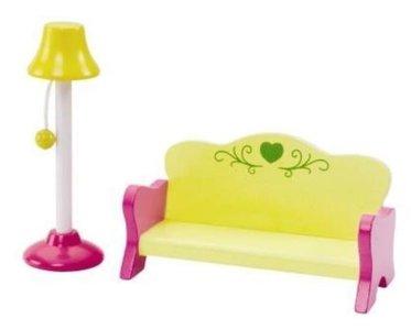 Poppenhuis meubels Wanju Bank & Schemerlamp