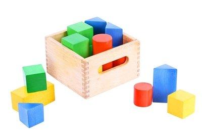 Blokkenkistje met Gekleurde Houten Blokken Bigjigs